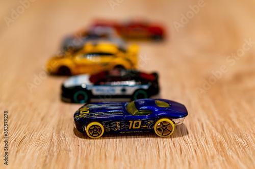 POZNAN, POLAND - Oct 13, 2020: Mattel Hot Wheels toy model race car фототапет