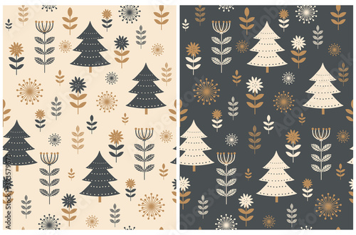 Obraz Cute Christmas Holidays Seamless Vector Patterns Set. Scandinavian Style Winter Forest Print ideal for Fabric, Christmas Decoration. Flowers and Trees on a Sail Champagne and Dark Gray Background. - fototapety do salonu