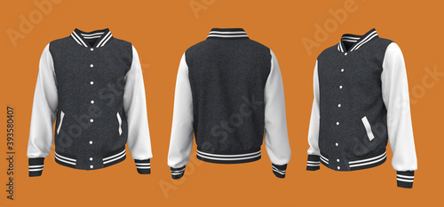 Photographie Varsity Jacket mockup in front, side and back views