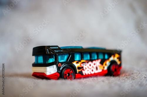 POZNAN, POLAND - Oct 17, 2020: Mattel Hot Wheels toy model bus фототапет