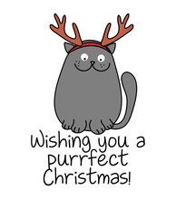 Wishing You A Purrfect (perfect) Christmas  - Cute Gray Cat Tangled In The Christmas Tree Light Galand, Meowy Catmas Cartoon Vector Doodle Illustration. Funny Doodle Animal.