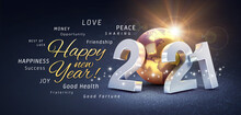 Happy New Year Greetings, Best Wishes And 2021 Date Number, Composed With A Gold Colored Planet Earth, On A Festive Black Background, With Glitters And Stars