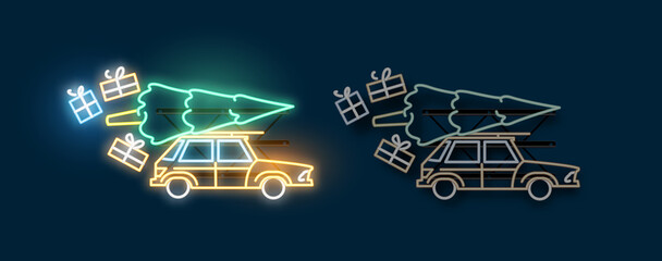 A car travelling home for christmas carrying a christmas tree and presents. Neon light sign with on and off versions. Vector illustration.