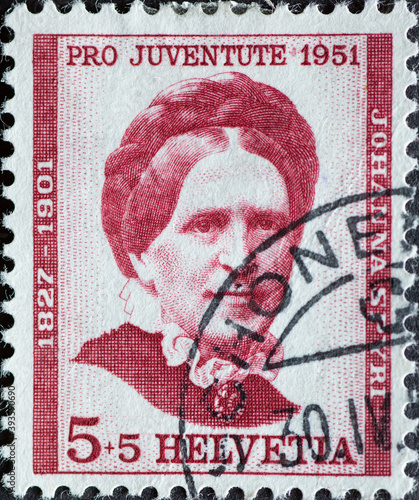 Obraz na plátně Switzerland - Circa 1951 : a postage stamp printed in the swiss showing a portra