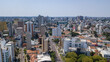 Drone image taken which shows a panoramic view of the Alto da XV neighborhood in Curitiba, capital of the state of Paraná, Brazil, with its buildings and trees