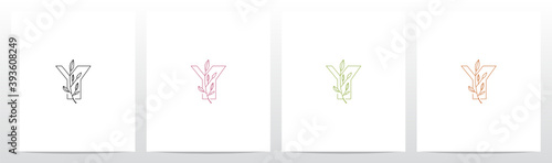 Leinwand Poster Branch With Leaves On Letter Logo Design Y