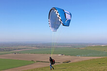 Paraglider Launching Wing In The Pewsey Vale