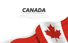 Banner With Waving Canadian Flag. Modern Illustration. National Flag Of Canada.