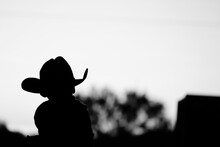 Silhouette Of Young Western Kid In Cowboy Hat, Copy Space On Background.