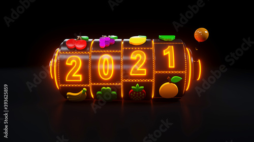 Slot Machine With Fruit Icons. Jackpot And Fortune. The 2021 Year Casino Gambling Concept With Neon Lights - 3D Illustration