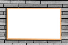 Blank Placard Mounted On Gray Wall