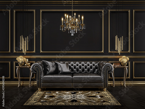 Fototapeta Classic black and gold interior with black leather sofa,chandelier,mouldings.3d rendering obraz