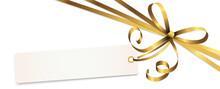 Gold Colored Ribbon Bow With Hang Tag
