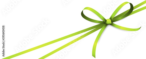 green colored ribbon bow