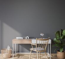 Mock Up Wall In Bright Farmhouse Interior Background, White Wooden Office On Dark Gray Wall, 3d Render