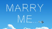 Marry Me Airplane Smoke Trail On Blue Sky