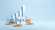 Franchise Business Growth With Earning Money, Copy Space. 3d Render.