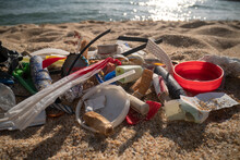 Plastic Discarded On Beach