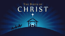 The Birth Of Christ, Christmas Scene Of Baby Jesus In The Manger. Holy Family, Three Wise Kings And Star Of Bethlehem, Banner Design. Vector Nativity Illustration With Silhouette Mary And Joseph