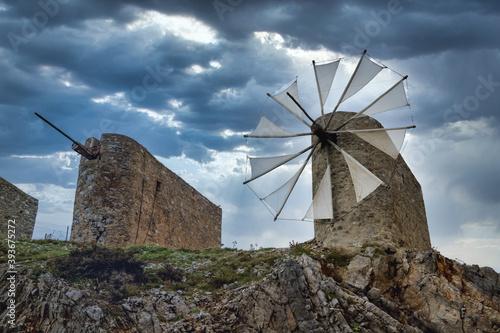 Beautiful jib sail windmills, used to pump water in arid zones, particularly fou Fototapeta