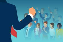 Vector Of A Leader Public Speaker Giving A Speech To A Crowd