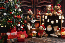 Christmas Home Decoration With Teddy Bears And Decors In Vintage Style