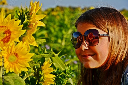 Obraz Odbicie słoneczników w okularach - fototapety do salonu