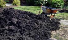 Heap Of Black Gardening Mulch With Weathered Wheelbarrow.