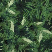 Green Tropical Palm Tree Leaves Seamless Pattern. High Quality Illustration. Vivid, Detailed, And Highly Textured Graphic Design. Trendy Jungle Foliage For Fabric Or Repeat Surface Design.