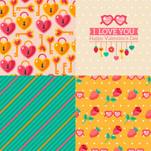 Seamless Patterns Of Valentine Symbols And Label I Love You. Use To Create Quilting Patches Or Seamless Backgrounds For Various Craft Projects. Striped Pattern, Key Lock, Heart Shaped Pink Glasses.