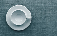 White Cup And Saucer On Natura...
