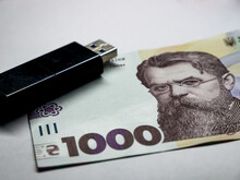 1000 Hryvnia Banknote And Usb ...