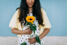 Young Woman In Polka Dot Dress...