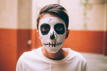 Boy With Halloween Skull Face ...