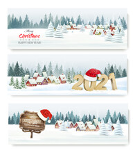 Three Holiday Christmas Holiday Landscape Banners With Santa Hat. Vector.