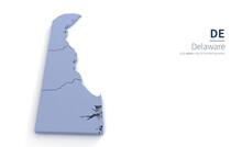 Delaware State Map 3d. State 3D Rendering Set In The United States.