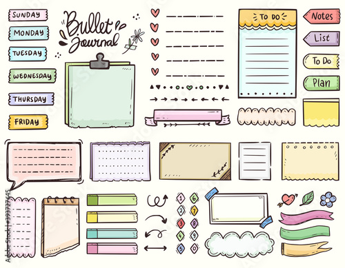 Bullet journal and colorful frame notes to do list ornament drawing doodle vecto Wallpaper Mural