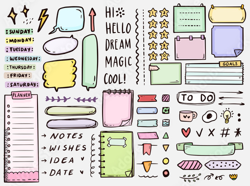 Cute bullet journal notes to do list drawing doodle vector collection Fotobehang