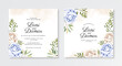 Wedding invitation template with hand painting watercolor floral