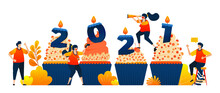 Countdown Of 2020 To 2021 With Theme Of Cupcakes To Celebrate New Year With Candle. Vector Illustration Concept Can Be Use For Landing Page, Template, Ui Ux, Web, Mobile App, Poster, Banner, Website