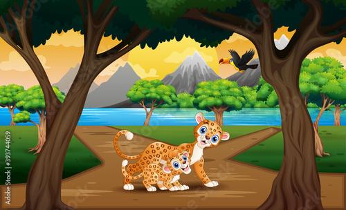 Fototapeta premium Illustration of leopard with her cub in the nature landscape
