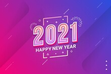 Happy New Year 2021 Typography Style Vector Illustration For Banner, Flyer And Greeting Card