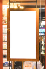 Close-up Of Blank Placard At Retail Shop