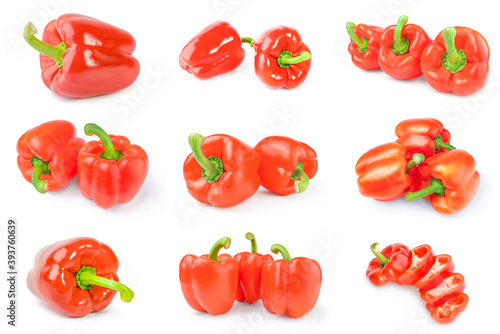 Tela Collage of red sweet peppers isolated on a white background cutout