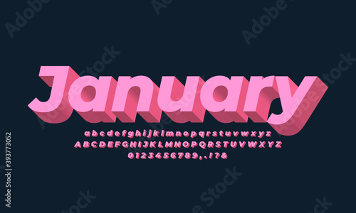 pink pastel bold 3d font effect or text effect design alphabet