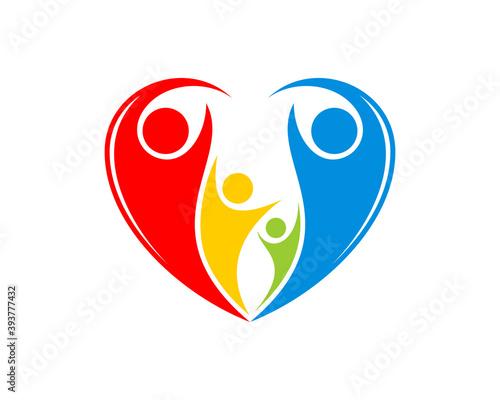 Fototapeta Happy swoosh people with love shape logo obraz