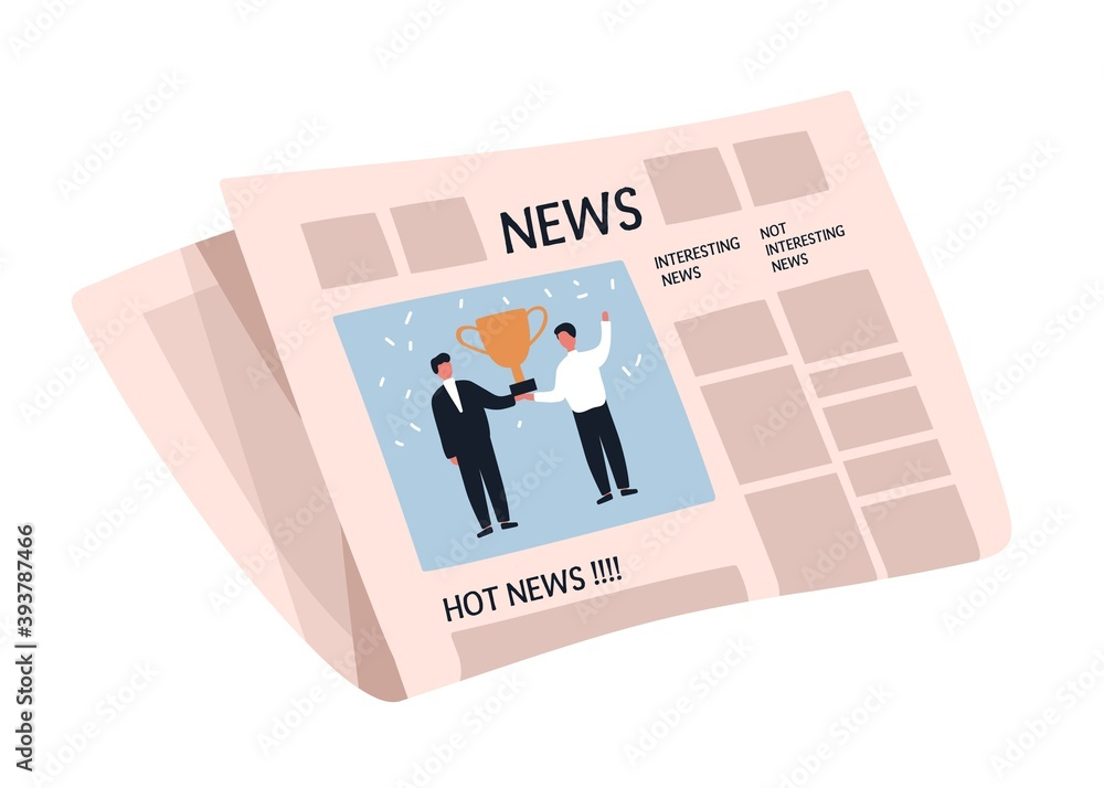 Fototapeta Weekly or daily newspaper with articles. News sheet with picture and text. Folded tabloid isolated on white background. Periodical press edition. Flat vector cartoon illustration