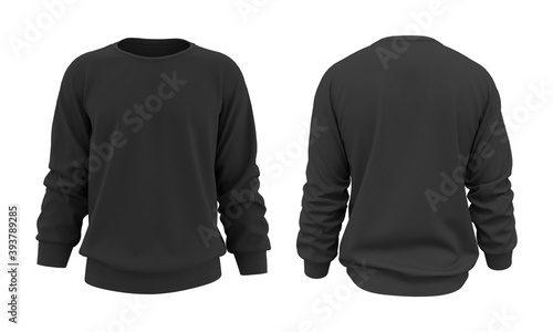 Obraz Blank sweatshirt mock up in front, and back views, isolated on white, 3d rendering, 3d illustration - fototapety do salonu