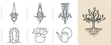 Set Of Outline Silhouettes Of Home Plants, Planters, Cacti, Hanging Macrame Potted Plants And Watering Can. Tree And Root Fine Hand-drawn Vector Monochrome  Illustration