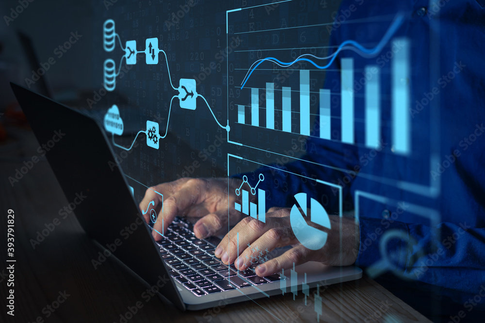 Fototapeta Analyst working with Business Analytics and Data Management System on computer to make report with KPI and metrics connected to database. Corporate strategy for finance, operations, sales, marketing